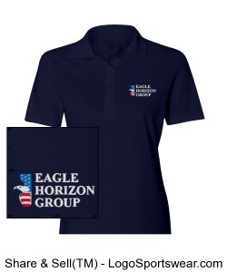 Ladies Navy Blue Polo Design Zoom